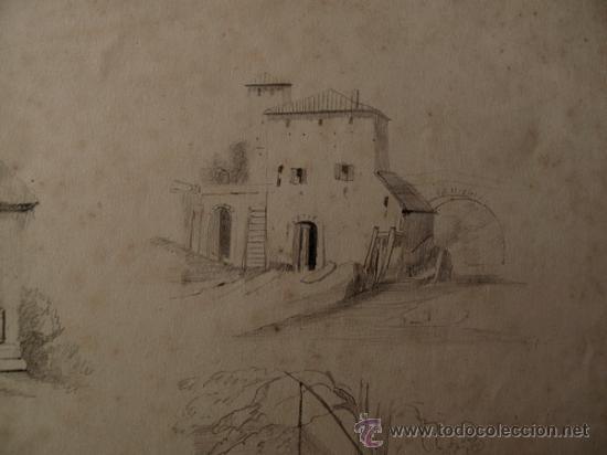 Arte: PAISAJES RURALES. 4 ESBOZOS ORIGINALES A LAPIZ. FECHADOS EN 1876 - Foto 4 - 31086736