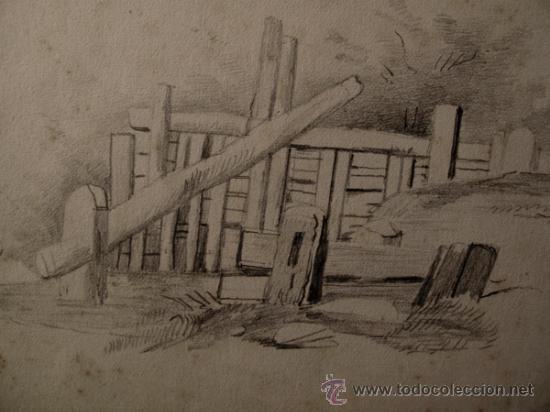 Arte: PAISAJES RURALES. 4 ESBOZOS ORIGINALES A LAPIZ. FECHADOS EN 1876 - Foto 5 - 31086736