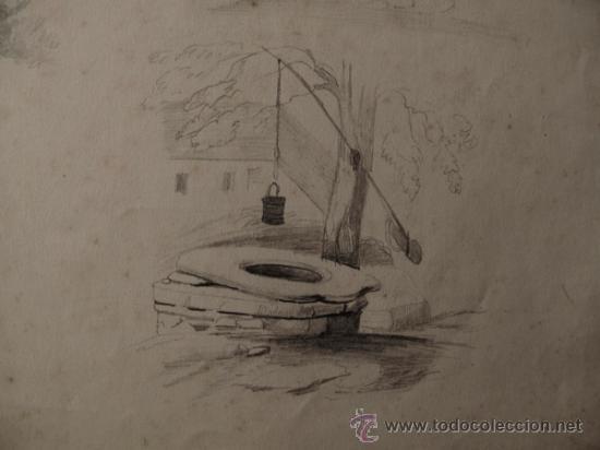 Arte: PAISAJES RURALES. 4 ESBOZOS ORIGINALES A LAPIZ. FECHADOS EN 1876 - Foto 6 - 31086736