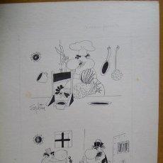 Art: DIBUJO ORIGINAL A PLUMA. SPLIM - COCINERO PERVERSO Y ABOGADO TRAMPOSO - HUMOR GRÁFICO. Lote 95813218