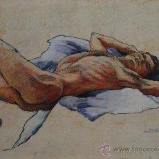 Arte: DESNUDO MASCULINO (ÁLVARO).- DIBUJO ORIGINAL DE JULIET SCHLUNKE (VER FOTOS ADICIONALES). Lote 31316419