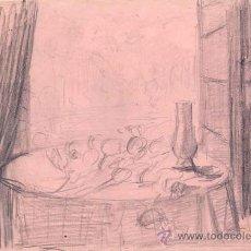 Arte: JOSE LOPEZ GUNTÍN (VILLALBA, LUGO 1929-LUGO1996) 'BODEGÓN' DIBUJO A LAPIZ. . Lote 31945484