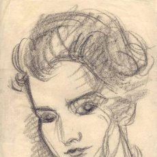 Arte: JOSE LOPEZ GUNTÍN (VILLALBA, LUGO 1929-LUGO1996) 'RETRATO' DIBUJO A LAPIZ.. Lote 31945558