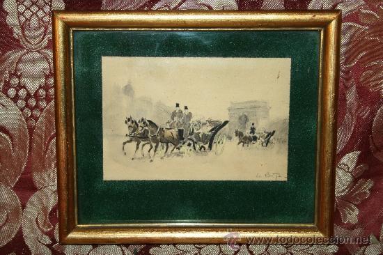 O2-016. DIBUJO SOBRE PAPEL REPRESENTANDO ARCO DE TRIUMFO FINALES S.XIX (Arte - Dibujos - Modernos siglo XIX)