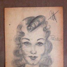 Arte: INTERESANTE RETRATO DE UNA JOVEN, BABS, AÑOS 30, ART DECO, FIRMADO. Lote 32081288