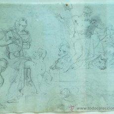 Arte: DIBUJO A LAPIZ NEPTUNO Y APOLO JOHN FLAXMAN (YORK 1755 LONDRES 1826) . Lote 51592313