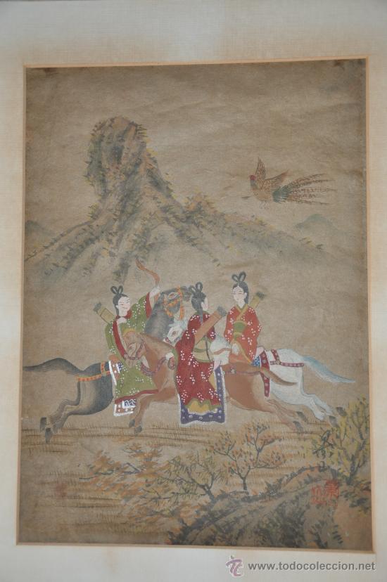 ANTIGUO DIBUJO ORIGINAL CHINA FIRMADO ESCENA DE CACERIA CON FLECHAS AVE DEL PARAISO (Arte - Dibujos - Antiguos hasta el siglo XVIII)