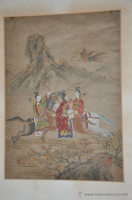 Arte: ANTIGUO DIBUJO ORIGINAL CHINA FIRMADO ESCENA DE CACERIA CON FLECHAS AVE DEL PARAISO - Foto 14 - 34225835