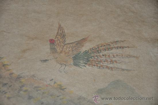 Arte: ANTIGUO DIBUJO ORIGINAL CHINA FIRMADO ESCENA DE CACERIA CON FLECHAS AVE DEL PARAISO - Foto 10 - 34225835