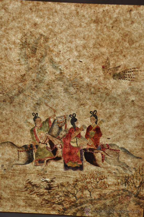 Arte: ANTIGUO DIBUJO ORIGINAL CHINA FIRMADO ESCENA DE CACERIA CON FLECHAS AVE DEL PARAISO - Foto 8 - 34225835