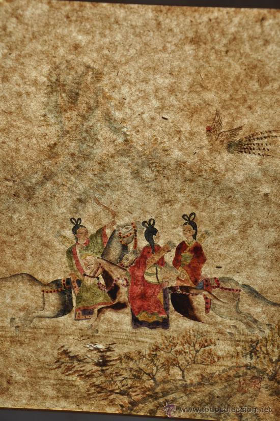 Arte: ANTIGUO DIBUJO ORIGINAL CHINA FIRMADO ESCENA DE CACERIA CON FLECHAS AVE DEL PARAISO - Foto 7 - 34225835