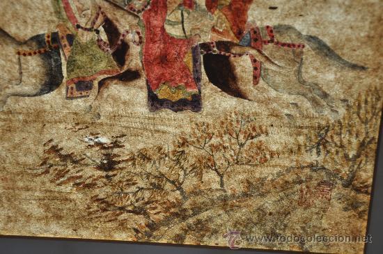 Arte: ANTIGUO DIBUJO ORIGINAL CHINA FIRMADO ESCENA DE CACERIA CON FLECHAS AVE DEL PARAISO - Foto 3 - 34225835