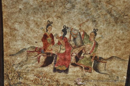 Arte: ANTIGUO DIBUJO ORIGINAL CHINA FIRMADO ESCENA DE CACERIA CON FLECHAS AVE DEL PARAISO - Foto 2 - 34225835