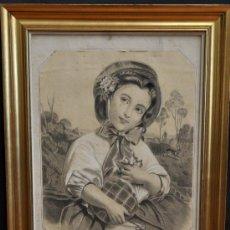 Arte: E. VILA RENOM. DIBUJO A CARBON Y CLARIÓN FECHADO DEL AÑO 1872. LE PETIT CHAPERON-ROUGE. Lote 33524345