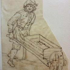 Arte: INTERESANTE RETRATO DEL SIGLO XVIII, PAPEL VERJURADO, HOMBRE CON CARRETILLA. Lote 32478838