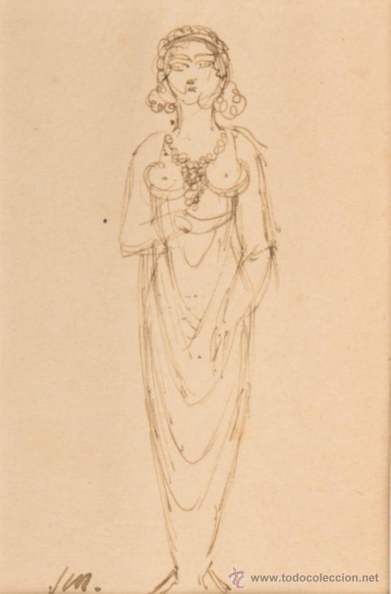 DIBUJO A PLUMILLA, FIRMADO J.MATAMALA (Arte - Dibujos - Contemporáneos siglo XX)