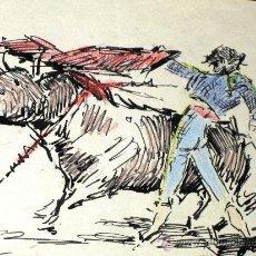 Arte: PRECIOSO DIBUJO JOAQUIN TERRUELLA 1891-1957 PLUMILLA PASE DE PECHO (TORO, MATADOR, TAUROMAQUIA). Lote 32761533