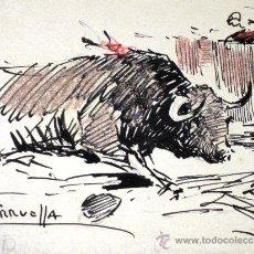 Arte: PRECIOSO DIBUJO JOAQUIN TERRUELLA 1891-1957 PLUMILLA TAURINA (TORO, MATADOR, TAUROMAQUIA). Lote 32761566