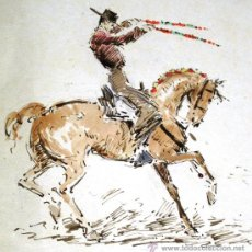 Arte: OFERTA PRECIOSO DIBUJO JOAQUIN TERRUELLA 1891-1957 PLUMILLA REJONEO (TORO, MATADOR, TAUROMAQUIA). Lote 32761648