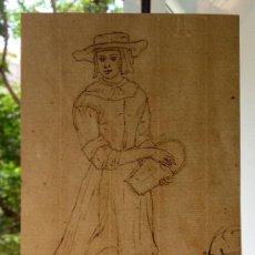 Arte: INTERESANTE Y BONITO RETRATO DE MUJER DEL SIGLO XVIII, PAPEL VERJURADO. Lote 32959862