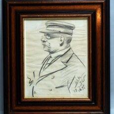 Arte: DIBUJO CARBONCILLO CABALLERO CON GORRA FIRMADO RIK 1895. Lote 33100366