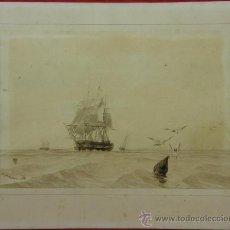 Arte: DIBUJO A TINTA FIRMADO A SAINT AULAIRE 1838 NAVIO GUERRA ACERCANDOSE A PUERTO BOYA DE AMARRE GARITAS. Lote 33426598