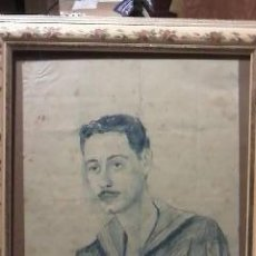 Arte: DIBUJO DE UN MARINO CARBONCILLO AZUL SOBRE PAPEL.FIRMADO SANTIAGO 27/11/1955.. Lote 89030842