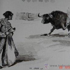 Arte: PINTURA A PLUMILLA FIRMADO TROPEZONES. Lote 33447117