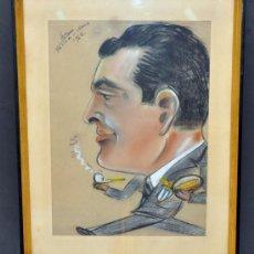 Arte: ROMÀ BONET SINTES (BON) DIBUJO A PASTEL. CARICATURA FECHADA EN PARMA DEL AÑO 1962. Lote 33516823