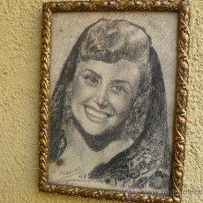 Arte: DIBUJO A LÁPIZ - FIRMADO LL LEOZ - 1947 - RETRATO FEMENINO. Lote 33722216