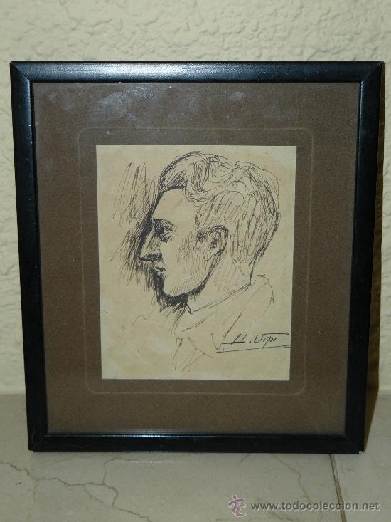 DIBUJO A TINTA - FIRMADO LLUIS URPÍ - RETRATO MASCULINO (Arte - Dibujos - Contemporáneos siglo XX)