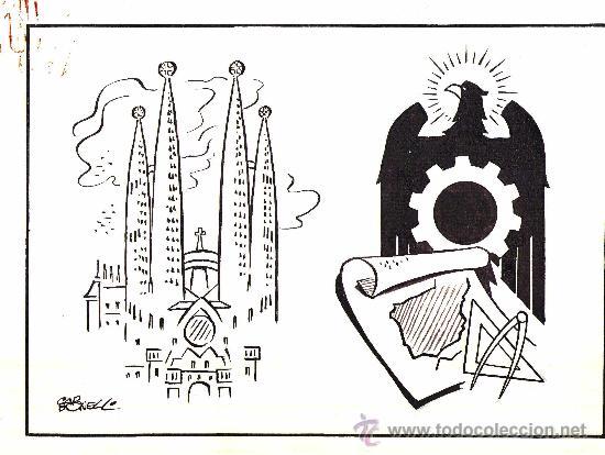 GUERRA CIVIL ESPAÑOLA, BARCELONA, DIBUJO ORIGINAL DE CARBONELL, AÑOS 40/50-SAGRADA FAMILIA DE GAUDI (Arte - Dibujos - Contemporáneos siglo XX)