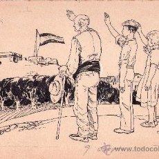 Arte: GUERRA CIVIL ESPAÑOLA, FALANGE, DIBUJO ORIGINAL A TINTA MARTINEZ COLLADO 1940,OJE-DIVISION AZUL. Lote 33783387