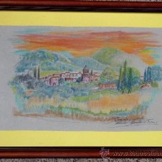 Arte: DIBUJO COLOREADO DE NURIA MUSTE I FORNS. NACIDA EN ALEIXAR, 1938. VISTA DE PRADES. Lote 33784496