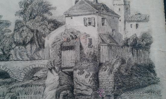 Arte: 1910. DIBUJO ORIGINAL DE CAPELLADES POR URSULA GUASCH ANOIA IGUALADA 46 X 29 CM GUASCH HERMANOS - Foto 2 - 181102311