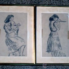 Arte: PAREJA DE DIBUJO A LÁPIZ.FIRMADO ROSER.AGOSTO DEL 48.MUY BUEN TRAZO. Lote 33988408