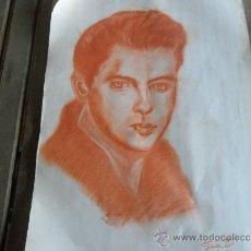 Arte: DIBUJO PINTURA RETRATO ORIGINAL AÑOS 60 ARTISTA DE CINE. Lote 34031499