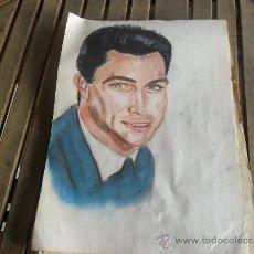 Arte: DIBUJO PINTURA RETRATO ORIGINAL AÑOS 60 ARTISTA DE CINE. Lote 34031770