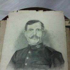 Arte: ANTIGUO DIBUJO DE MILITAR DEDICADO Y FECHADO AÑO 1912. Lote 34052406