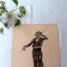 Arte: CARBONCILLO / PAPEL. ANTIGUO DIBUJO.. Lote 34158802