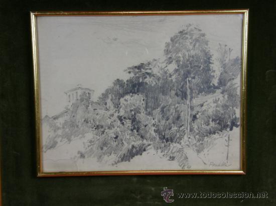 Dibujo A Lapiz Carboncillo Firmado Pradilla Enm Sold