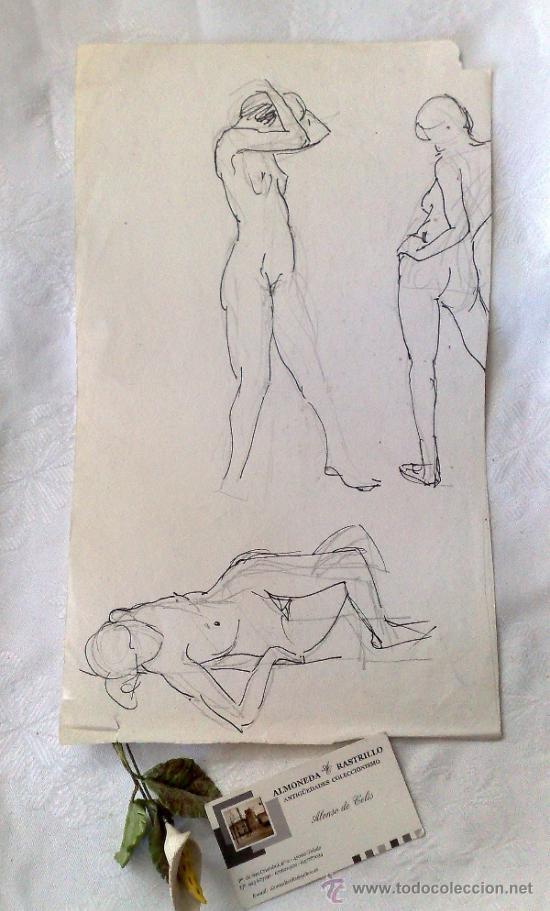 SIGLO XX. DOBLE DIBUJO ANVERSO Y REVERSO .- MUJER POSANDO.- (Arte - Dibujos - Contemporáneos siglo XX)