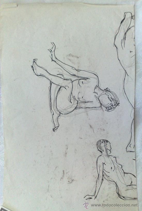 Arte: SIGLO XX. DOBLE DIBUJO ANVERSO Y REVERSO .- MUJER POSANDO.- - Foto 7 - 34254264