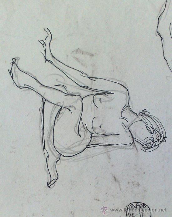 Arte: SIGLO XX. DOBLE DIBUJO ANVERSO Y REVERSO .- MUJER POSANDO.- - Foto 6 - 34254264