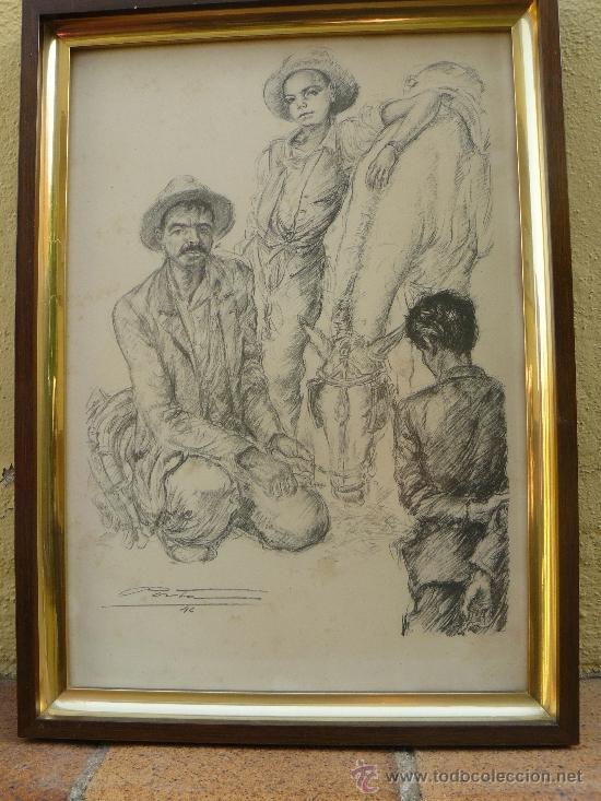 LITOGRAFIA - FIRMADA PORTA - 1946 - LABRIEGOS (Arte - Dibujos - Contemporáneos siglo XX)
