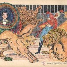 Arte: DIBUJO DE CIRCO ORIGINAL. ANÓNIMO. 'DOMADOR DE LEONES'. CA. 1930. 32 X 23 CM.. Lote 34375185