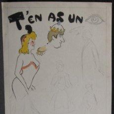 Arte: DIBUJO DE PERE/PEDRO YNGLADA (CUBA 1881-BARCELONA 1958). PAREJA REAL. Lote 34424930