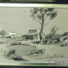 Arte: DIBUJO PAISAJE DE CASA ENTRE ÁRBOLES. FIRMADO JUAN LOSHUERTOS. ENMARCADO. Lote 34453356