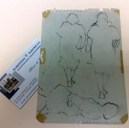 ANTIGUA HOJA DE CUARTILLA CON DIBUJO A DOS CARAS. (Arte - Dibujos - Contemporáneos siglo XX)