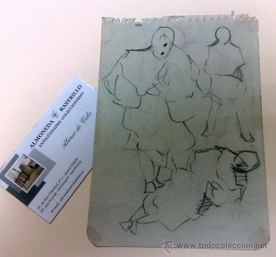 Arte: ANTIGUA HOJA DE CUARTILLA CON DIBUJO A DOS CARAS. - Foto 6 - 34476659